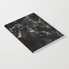 Rose Gold and Black Marble Notebook