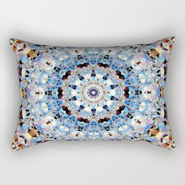 Blue Brown Folklore Texture Mandala Rectangular Pillow