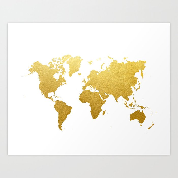 Faux Gold Foil World Map Print Gold Art Print Interior Design Wall ...