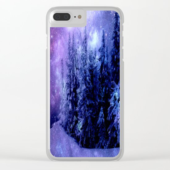 Galaxy Winter Forest Lavender Purple Blue Clear iPhone Case