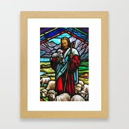 Jesus and lambs stained glass Framed Art Print