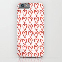 Heart Pattern Living Coral - hand painted iPhone Case