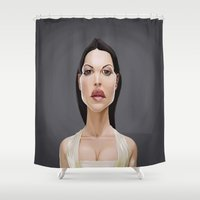 celebrity Shower Curtains featuring Celebrity Sunday ~ Monica Bellucci by rob art   illustration
