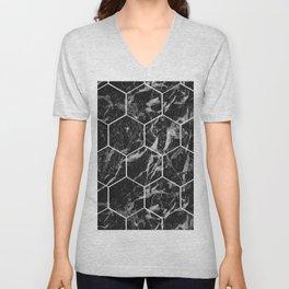 Black Campari marble - hexagons Unisex V-Neck