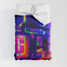 OPEN neon sign with pink purple red and blue painting abstract background Duvet Cover