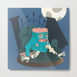 ZOMBIE CRAWLER IN CEMETARY Metal Print