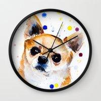chihuahua Wall Clocks featuring Chihuahua by Slaveika Aladjova