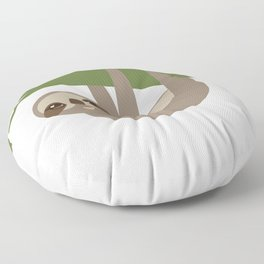 Three-toed sloth on green branch Floor Pillow