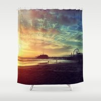 santa monica Shower Curtains featuring Santa Monica Sunset by Michali's Studio