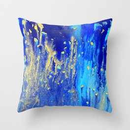 Blue & gold abstract 171010 Throw Pillow