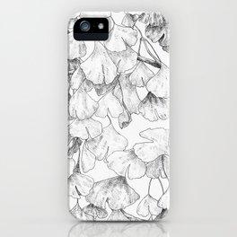Ginkgo biloba - pattern in black iPhone Case