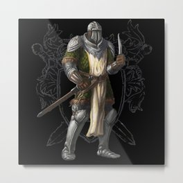 Green Knight with Knife Character Design Metal Print