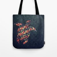 tortoise Tote Bags featuring The Pattern Tortoise by VessDSign
