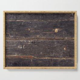 Vintage Black Wood Serving Tray