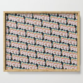 Pisces Trendy Rainbow Text Pattern (Black) Serving Tray
