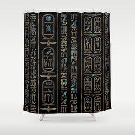 Egyptian hieroglyphs pattern Gold Abalone Shower Curtain