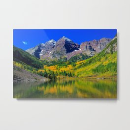 USA Maroon Bells Colorado Nature Mountains Lake Forests landscape photography mountain forest Scenery Metal Print