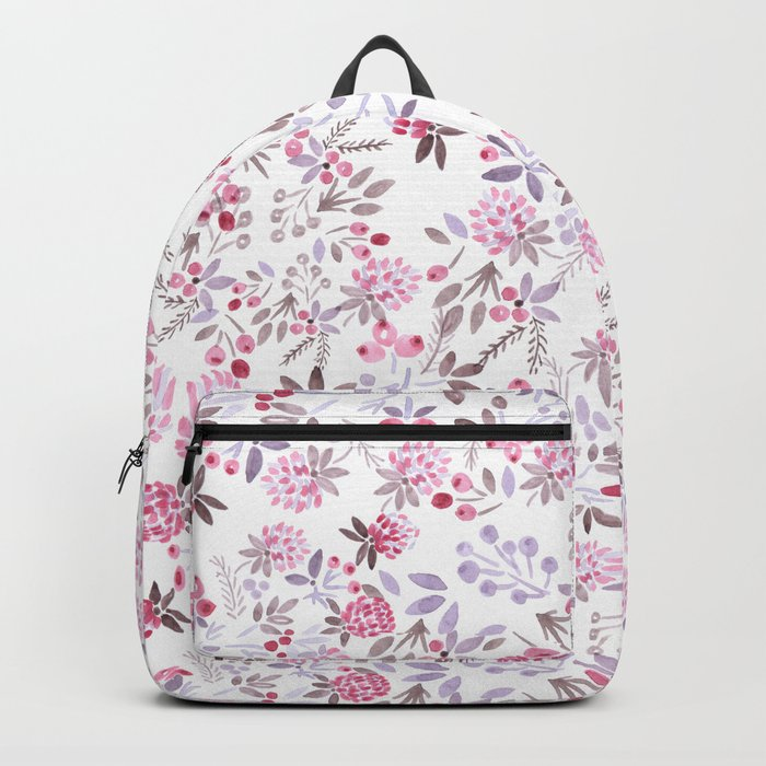 Watercolor floral pattern . Backpack