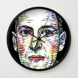 H. P. LOVECRAFT watercolor and ink portrait Wall Clock
