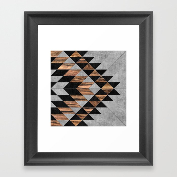 Urban Tribal Pattern No.10 - Aztec - Concrete and Wood Gerahmter Kunstdruck