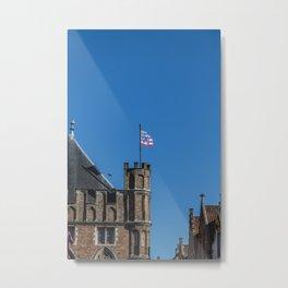 Bruges tower and flag Metal Print