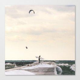 Winter on Lake Michigan   Frankfort, Michigan   John Hill Photography Canvas Print