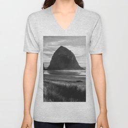 Cannon Beach Sunset - Black and White Nature Photography Unisex V-Neck