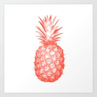 pinapple Art Prints featuring Coral Pineapple by CumulusFactory