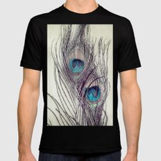 Peacock Feathers Mens Fitted Tee MEDIUM Black