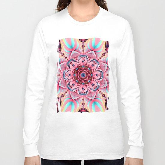 Blooming in Pink, floral kaleidoscope design Long Sleeve T-shirt