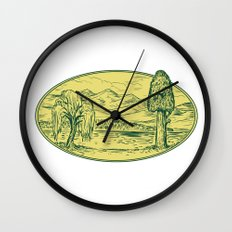 Willow And Sequoia Tree Lake Mountains Oval Drawing Wall Clock