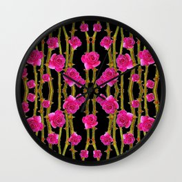 "FUCHSIA PINK ""ROSES & THORNS""  BLACK ART PATTERNS Wall Clock"