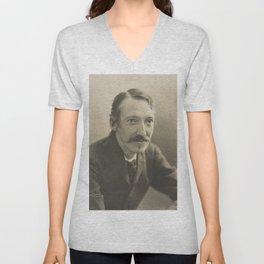Vintage Robert Louis Stevenson Photo Portrait Unisex V-Neck