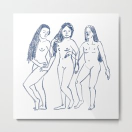 Three Girls - Line Art Metal Print