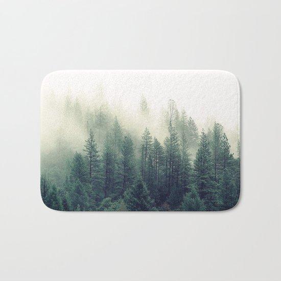 Foggy Winter Forest Bath Mat