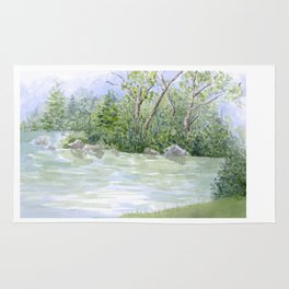 Lake Landscape Watercolor  Rug