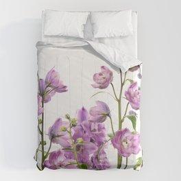 Purple delphinium flowers Comforters