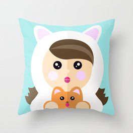 I'm a ladycat Throw Pillow