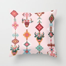 Boho Ox Tribal Pattern Throw Pillow