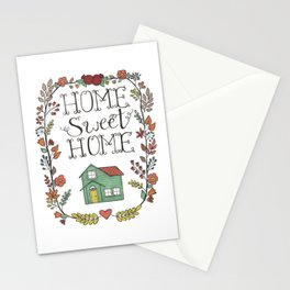 Home Sweet Home | Floral Pomegranate Leaves Heart Stationery Cards