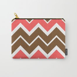Big Chevron:  Chocolate Brown + Coral Carry-All Pouch