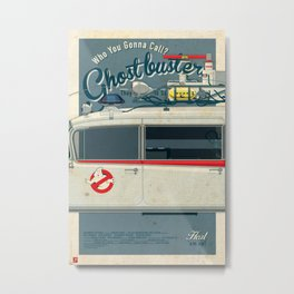 Ghostbusters Ecto-1 Triptych part II of III Metal Print