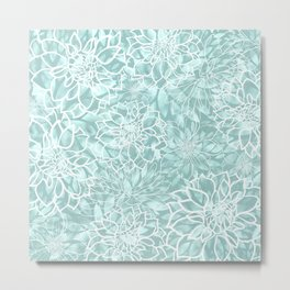 Teal and White Floral Garden Pattern Metal Print