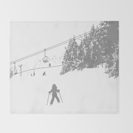 Little Skier - Grey Throw Blanket