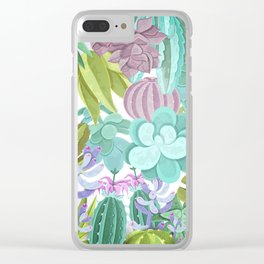 Tropical Cactus Pattern Clear iPhone Case
