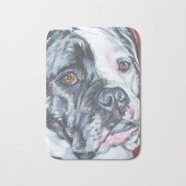 American Bulldog dog portrait Fine Art Dog Painting by L.A.Shepard Bath Mat