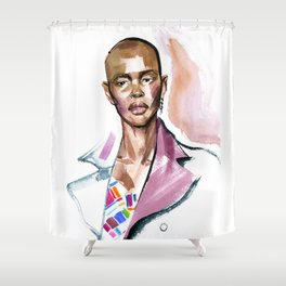 fashion #4. Portrait of a dark-skinned girl in a rose coat Shower Curtain
