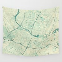 austin Wall Tapestries featuring Austin Map Blue Vintage by City Art Posters