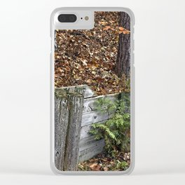 Wood Wall Clear iPhone Case