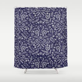 Chalkboard Floral Doodle Pattern in Navy & Cream Shower Curtain